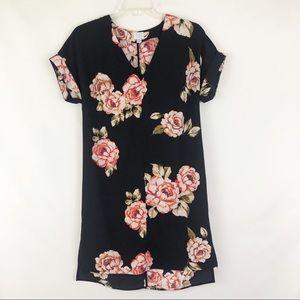 A New Day Short Sleeve Black Floral Dress Sz XS